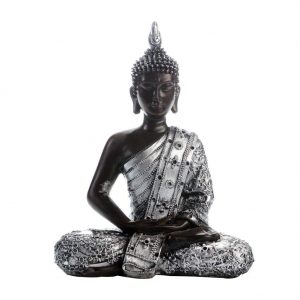 Buddha Statue Meditating Peace Sitting Ornament Silver