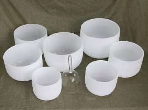 Chakra Tuned Set of 8 Quartz Crystal Singing Bowls 8inch-12inch Frosted(7pcs) and one 4.2