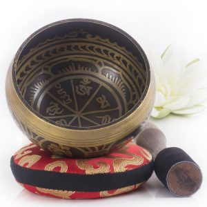 Silent Mind ~ Antique Design Tibetan Singing Bowl Set ~ With Mallet & Silk Cushion