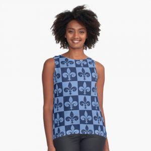 Fleur-de-lis Symbol Light Blue and Dark Blue Distressed Pattern